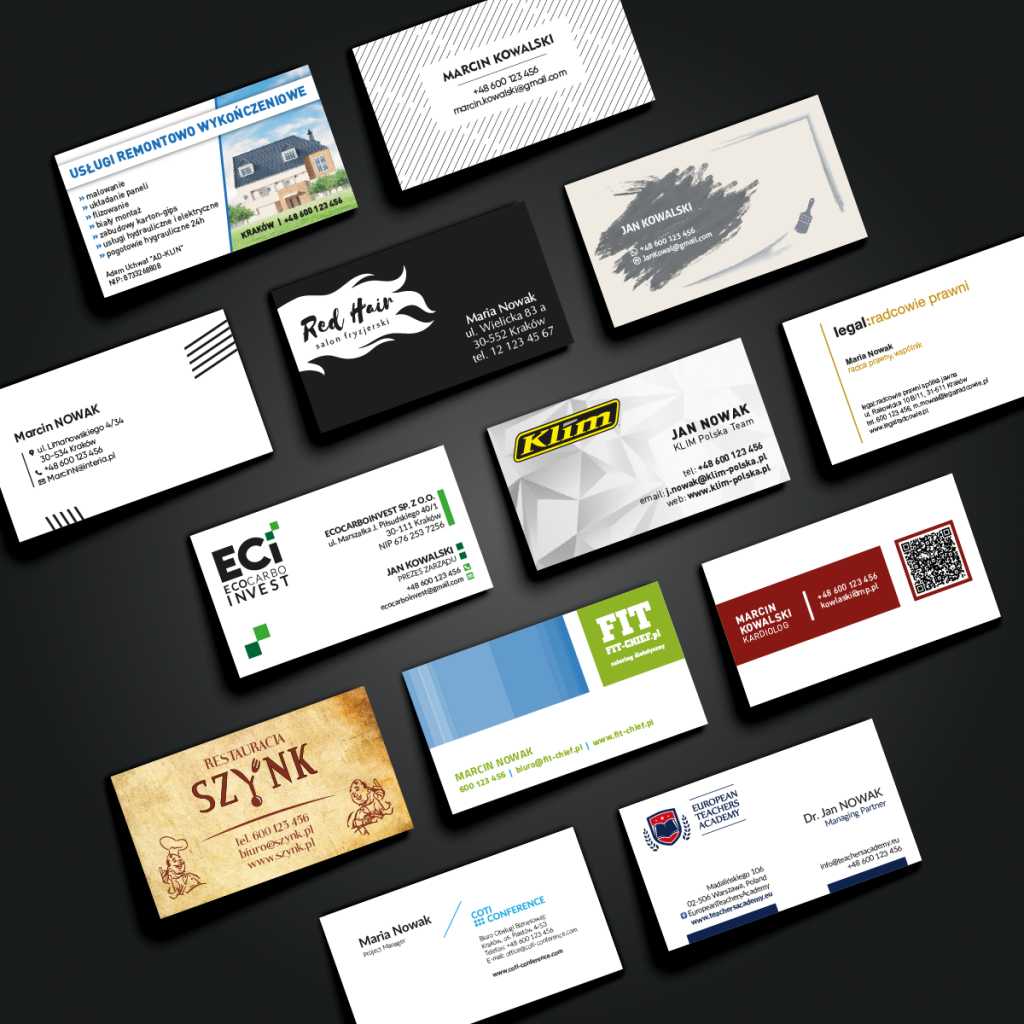 Projekty wizytówek